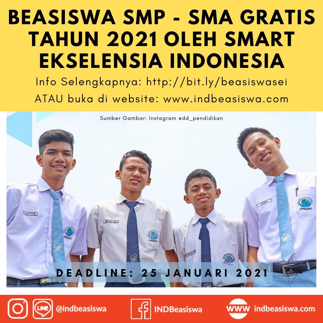 BEASISWA SMP – SMA GRATIS TAHUN 2021 OLEH SMART EKSELENSIA INDONESIA